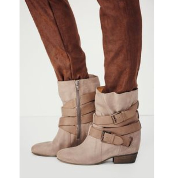 b50d67c3f6a Hidden Wedge Oiled Suede Wrapped Buckle Boots. NWT. Anthropologie